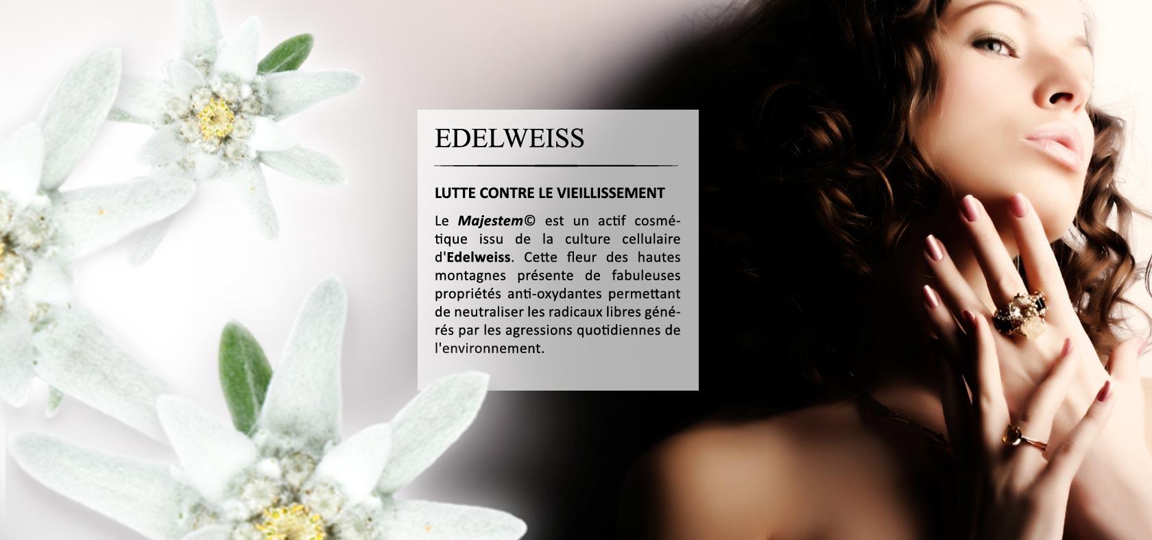 Le Majestem(c) est un actif cosmétique issu de la culture cellulaire d'Edelweis. Cette fleur des hautes montagnes présente de fabuleuses propriétés anti-oxydantes permettant de neutraliser les radicaux libres générés par les agressions quotidiennes de l'e